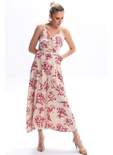Emjey Askılı Kruvaze Elbise Bej